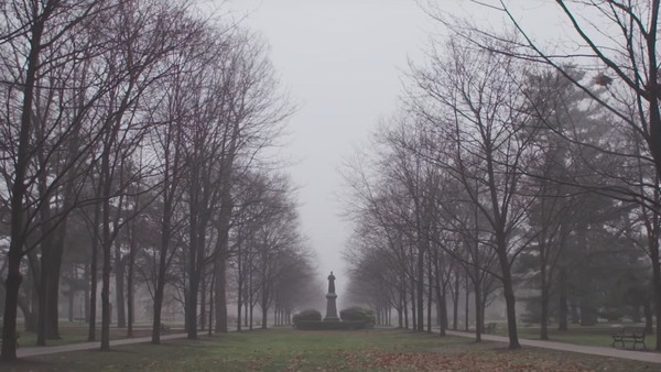 A foggy winter morning at Notre Dame